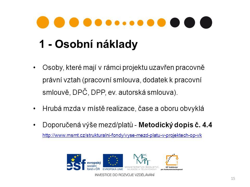 1 - Osobní náklady 15 Osoby, které mají v rámci projektu uzavřen pracovně právní vztah (pracovní smlouva, dodatek k pracovní smlouvě, DPČ, DPP, ev.
