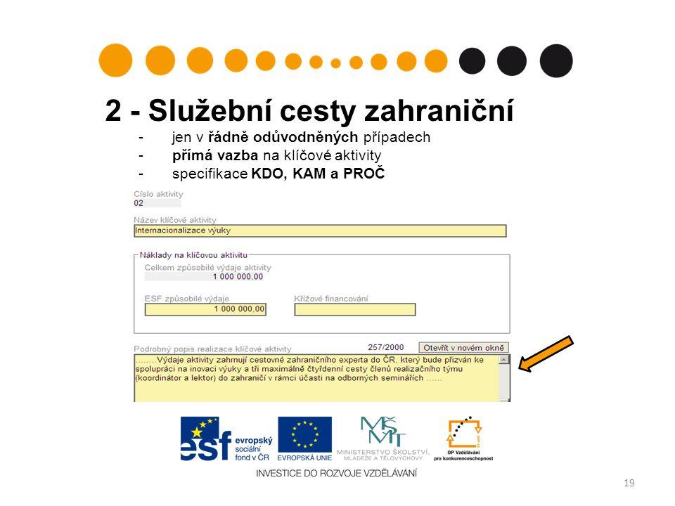 2 - Služební cesty zahraniční - jen v řádně odůvodněných případech - přímá vazba na klíčové aktivity -specifikace KDO, KAM a PROČ 19