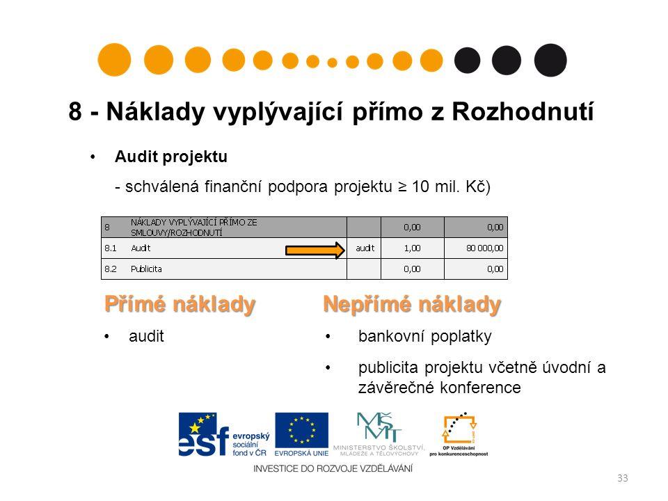 8 - Náklady vyplývající přímo z Rozhodnutí 33 Audit projektu - schválená finanční podpora projektu ≥ 10 mil.