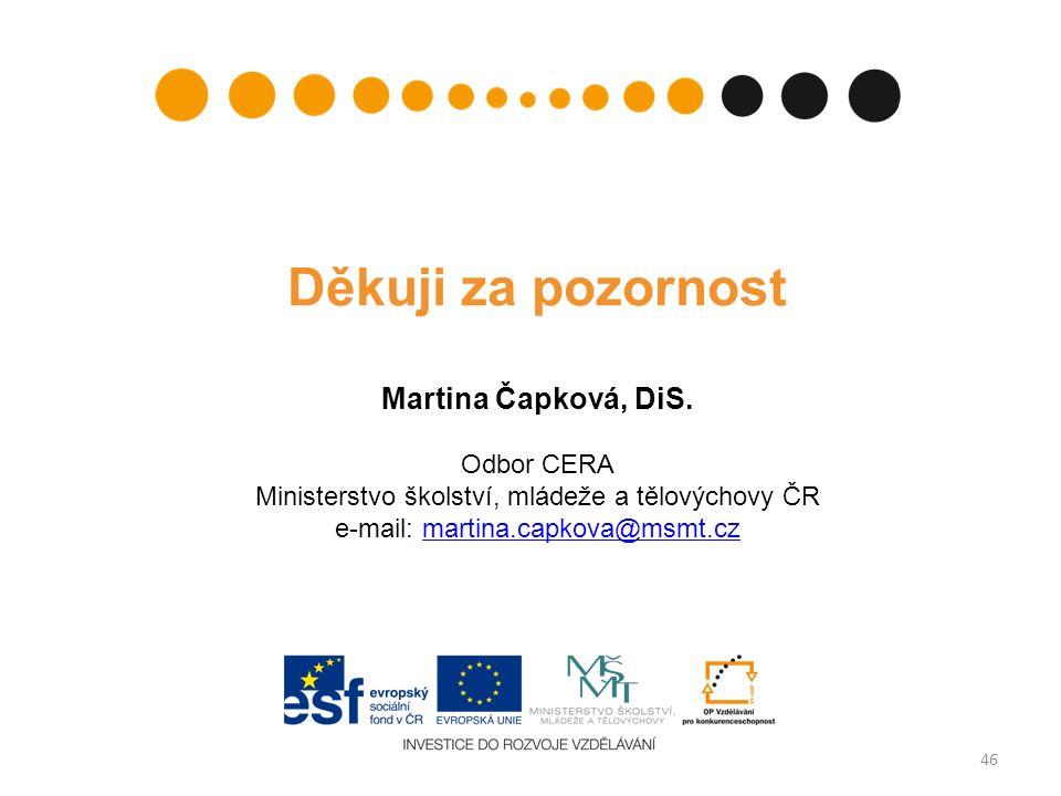 46 Děkuji za pozornost Martina Čapková, DiS.