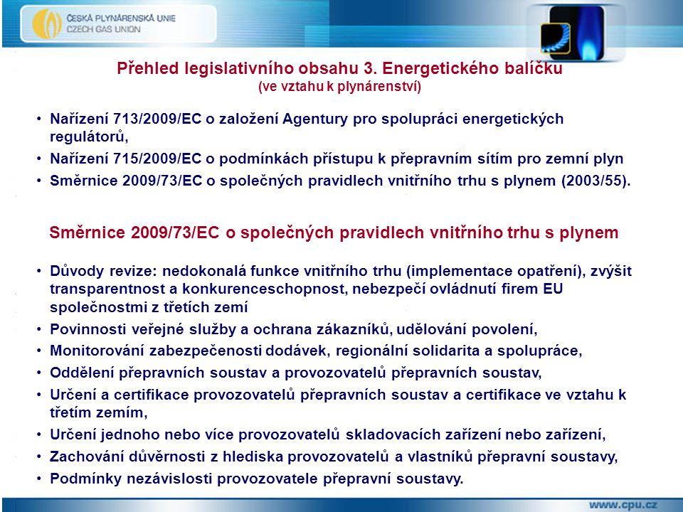 Nařízení 713/2009/EC o založení Agentury pro spolupráci energetických regulátorů, Nařízení 715/2009/EC o podmínkách přístupu k přepravním sítím pro zemní plyn Směrnice 2009/73/EC o společných pravidlech vnitřního trhu s plynem (2003/55).