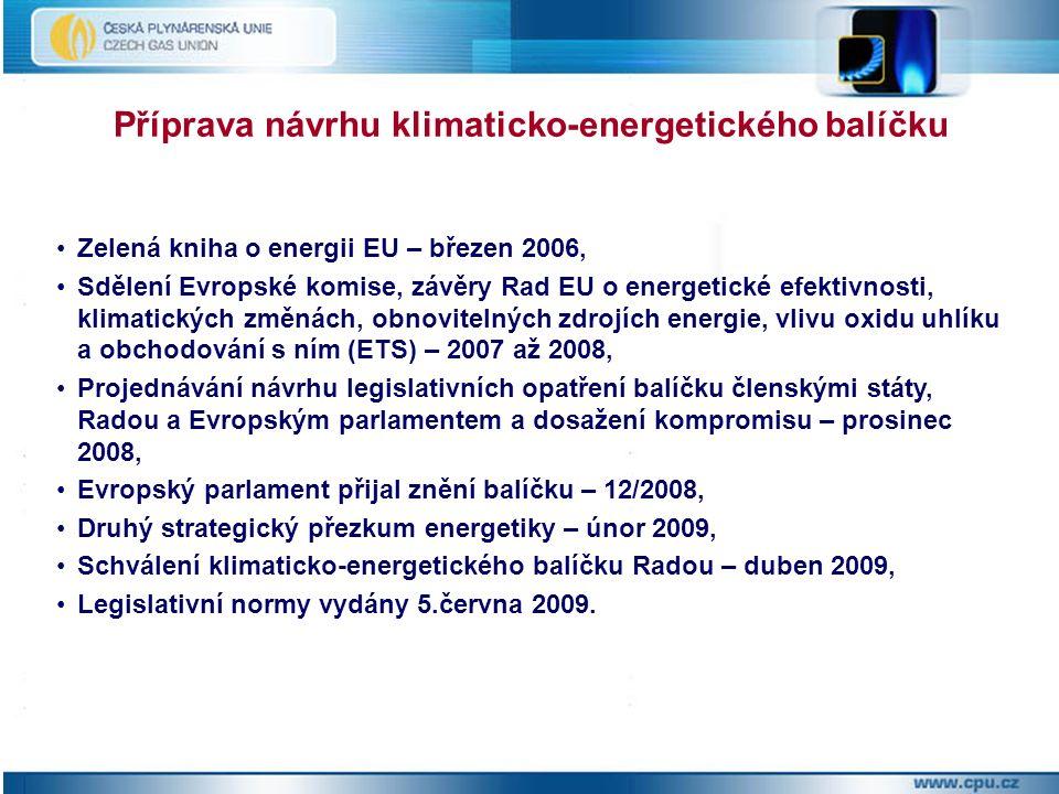Zelená kniha o energii EU – březen 2006, Sdělení Evropské komise, závěry Rad EU o energetické efektivnosti, klimatických změnách, obnovitelných zdrojích energie, vlivu oxidu uhlíku a obchodování s ním (ETS) – 2007 až 2008, Projednávání návrhu legislativních opatření balíčku členskými státy, Radou a Evropským parlamentem a dosažení kompromisu – prosinec 2008, Evropský parlament přijal znění balíčku – 12/2008, Druhý strategický přezkum energetiky – únor 2009, Schválení klimaticko-energetického balíčku Radou – duben 2009, Legislativní normy vydány 5.června 2009.