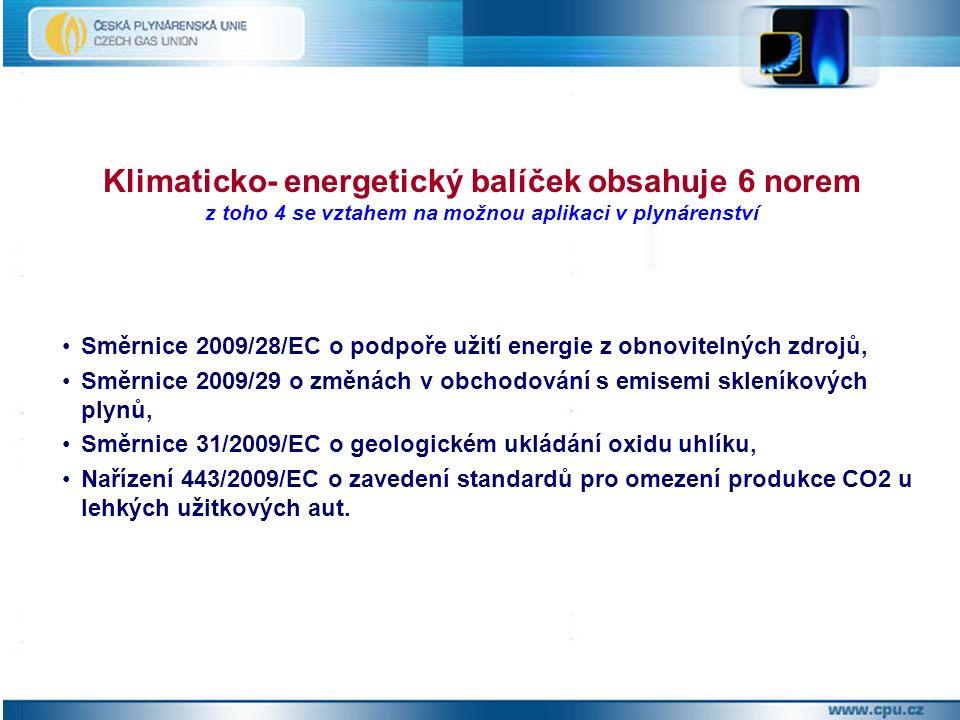 Směrnice 2009/28/EC o podpoře užití energie z obnovitelných zdrojů, Směrnice 2009/29 o změnách v obchodování s emisemi skleníkových plynů, Směrnice 31/2009/EC o geologickém ukládání oxidu uhlíku, Nařízení 443/2009/EC o zavedení standardů pro omezení produkce CO2 u lehkých užitkových aut.