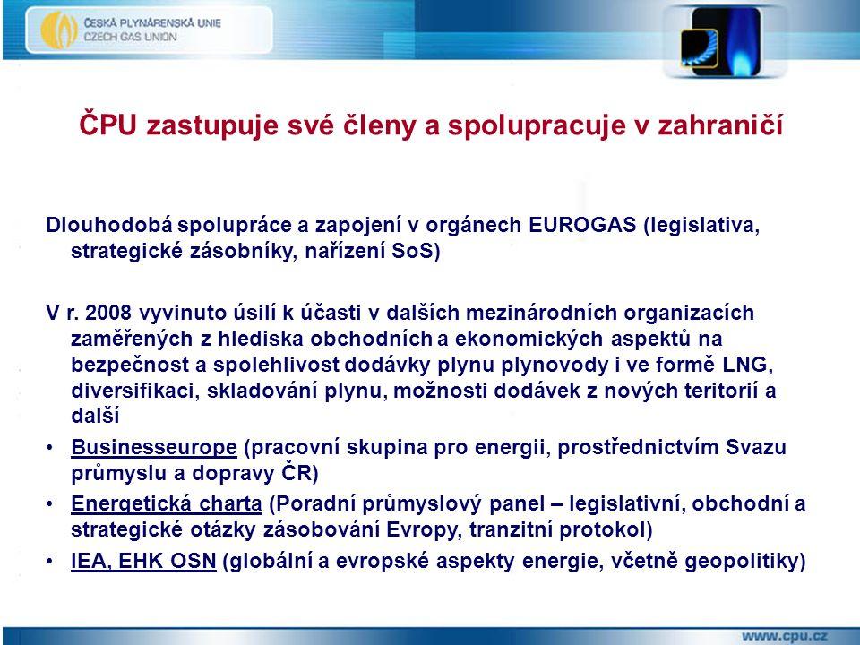 Dlouhodobá spolupráce a zapojení v orgánech EUROGAS (legislativa, strategické zásobníky, nařízení SoS) V r.