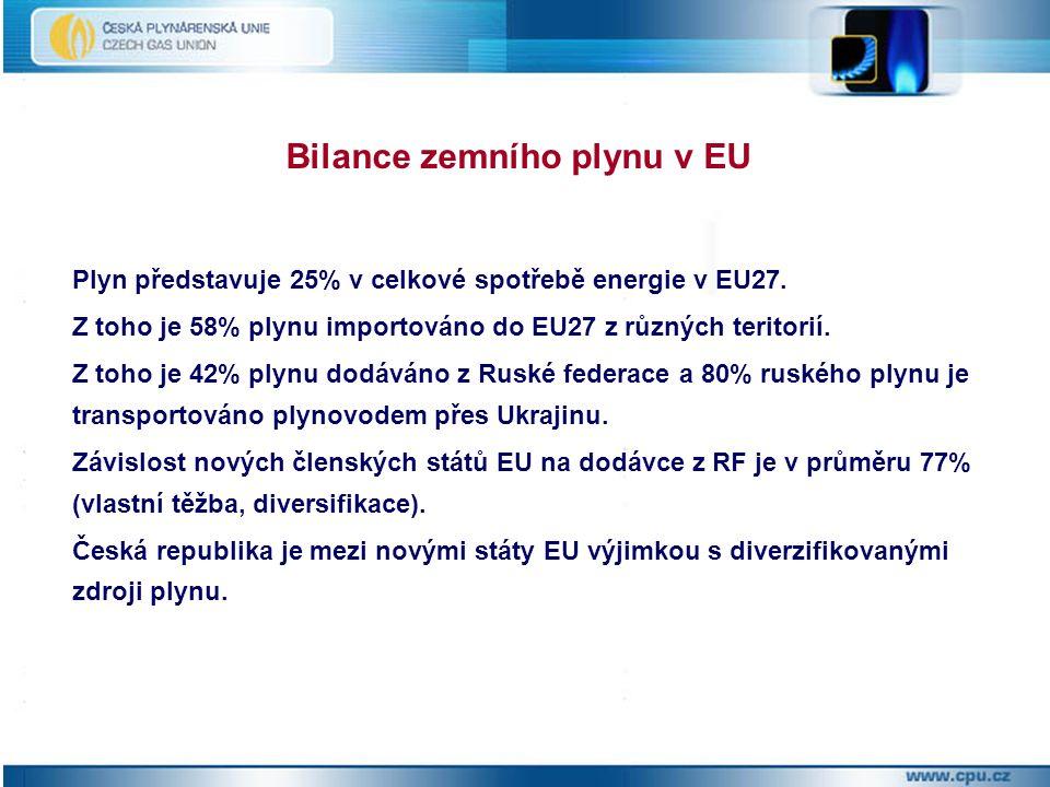 Plyn představuje 25% v celkové spotřebě energie v EU27.