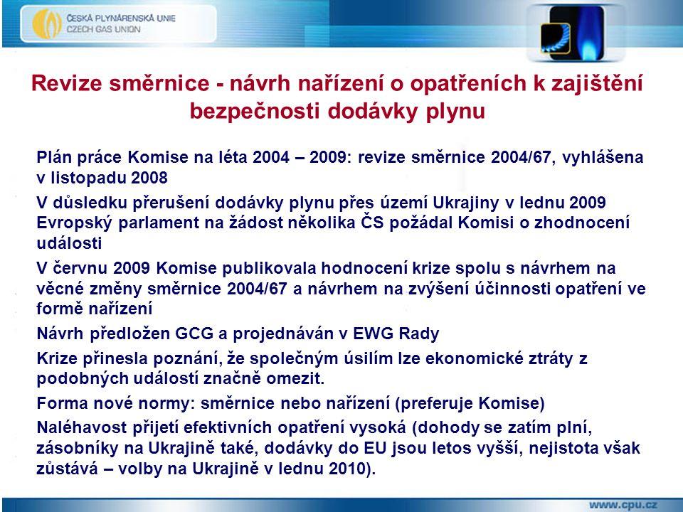 Plán práce Komise na léta 2004 – 2009: revize směrnice 2004/67, vyhlášena v listopadu 2008 V důsledku přerušení dodávky plynu přes území Ukrajiny v lednu 2009 Evropský parlament na žádost několika ČS požádal Komisi o zhodnocení události V červnu 2009 Komise publikovala hodnocení krize spolu s návrhem na věcné změny směrnice 2004/67 a návrhem na zvýšení účinnosti opatření ve formě nařízení Návrh předložen GCG a projednáván v EWG Rady Krize přinesla poznání, že společným úsilím lze ekonomické ztráty z podobných událostí značně omezit.