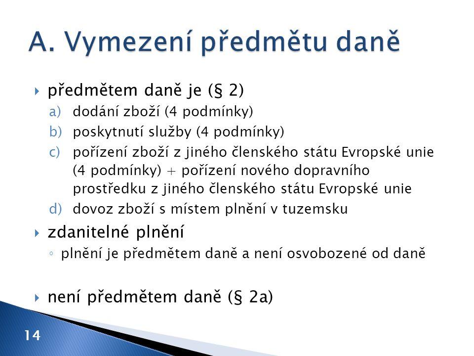14  předmětem daně je (§ 2) a)dodání zboží (4 podmínky) b)poskytnutí služby (4 podmínky) c)pořízení zboží z jiného členského státu Evropské unie (4 podmínky) + pořízení nového dopravního prostředku z jiného členského státu Evropské unie d)dovoz zboží s místem plnění v tuzemsku  zdanitelné plnění ◦ plnění je předmětem daně a není osvobozené od daně  není předmětem daně (§ 2a)