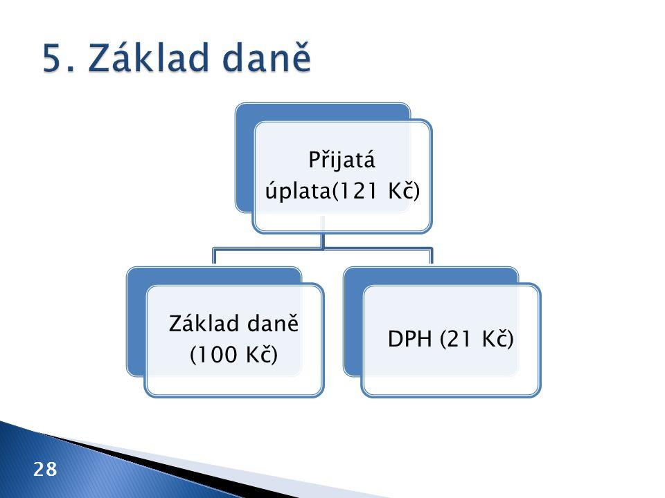 28 Přijatá úplata(121 Kč) Základ daně (100 Kč) DPH (21 Kč)