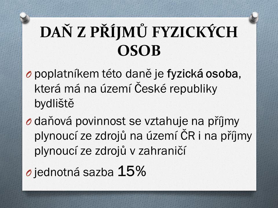 DAŇ Z PŘÍJMŮ FYZICKÝCH OSOB O poplatníkem této daně je fyzická osoba, která má na území České republiky bydliště O daňová povinnost se vztahuje na příjmy plynoucí ze zdrojů na území ČR i na příjmy plynoucí ze zdrojů v zahraničí O jednotná sazba 15%