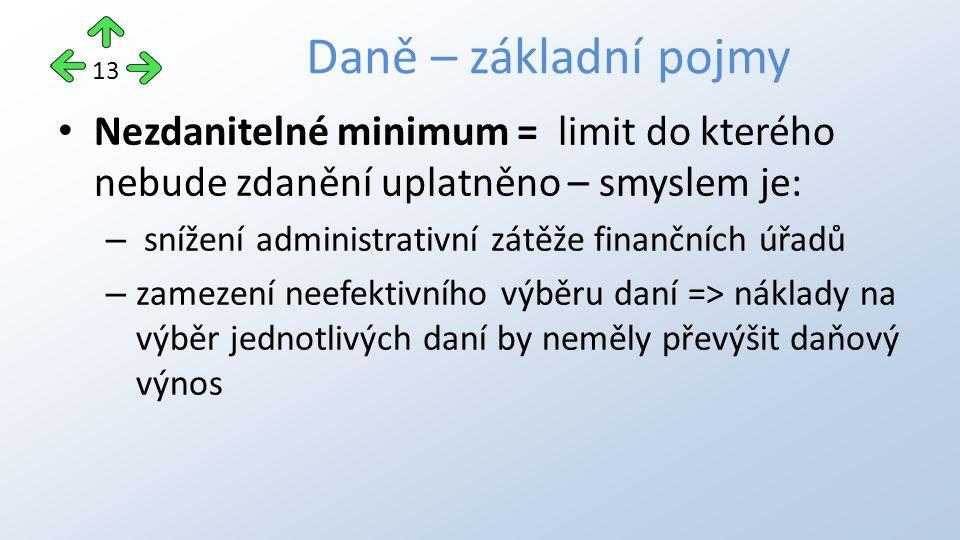 Nezdanitelné minimum = limit do kterého nebude zdanění uplatněno – smyslem je: – snížení administrativní zátěže finančních úřadů – zamezení neefektivního výběru daní => náklady na výběr jednotlivých daní by neměly převýšit daňový výnos Daně – základní pojmy 13