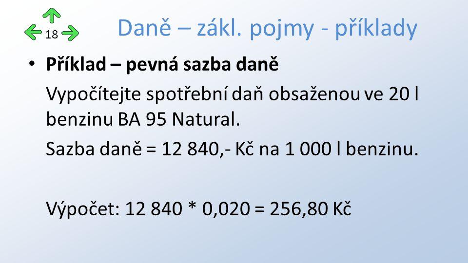 Příklad – pevná sazba daně Vypočítejte spotřební daň obsaženou ve 20 l benzinu BA 95 Natural.