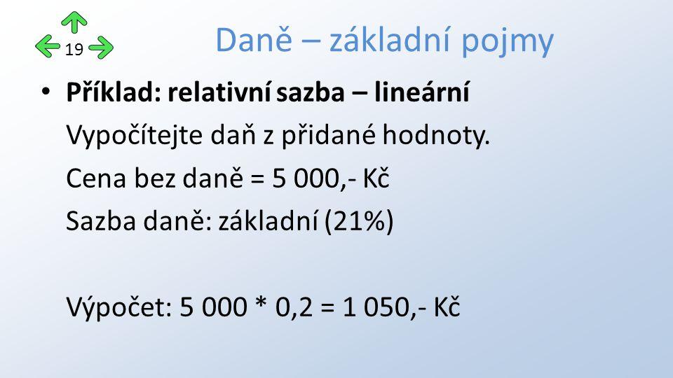 Příklad: relativní sazba – lineární Vypočítejte daň z přidané hodnoty.