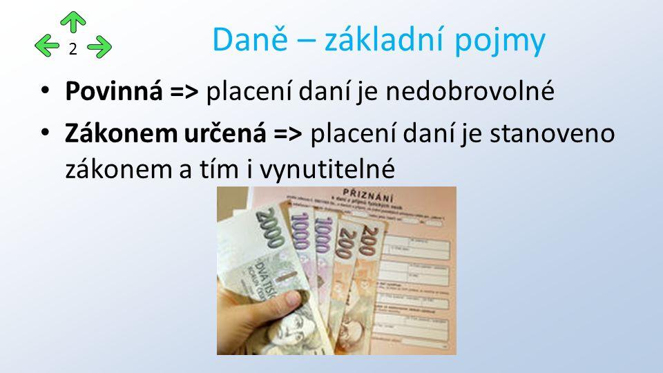 Povinná => placení daní je nedobrovolné Zákonem určená => placení daní je stanoveno zákonem a tím i vynutitelné Daně – základní pojmy 2
