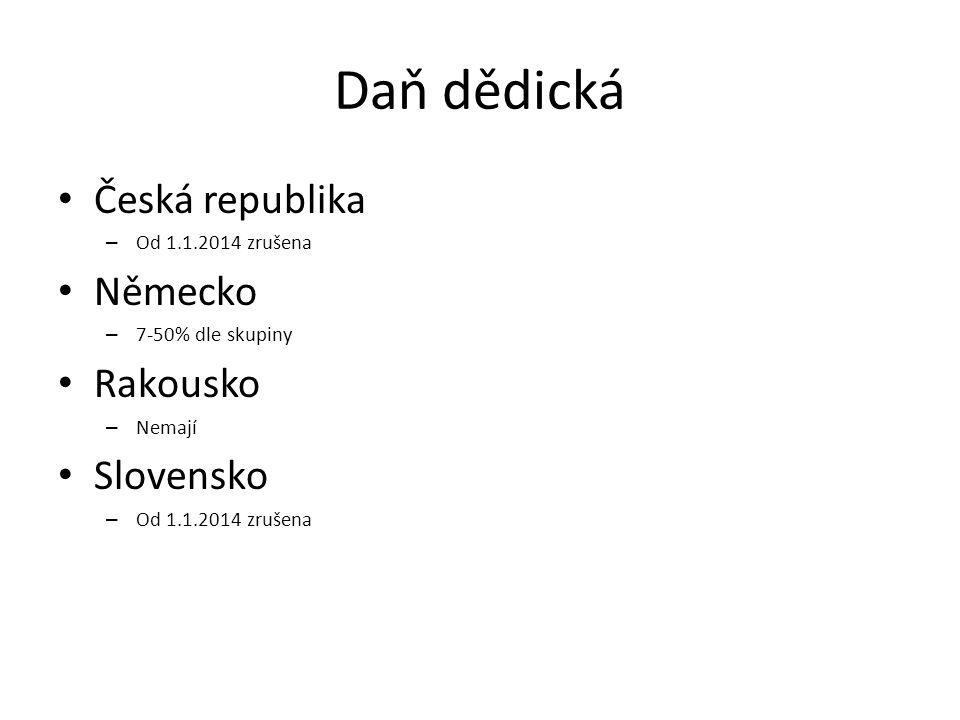 Daň dědická Česká republika – Od 1.1.2014 zrušena Německo – 7-50% dle skupiny Rakousko – Nemají Slovensko – Od 1.1.2014 zrušena