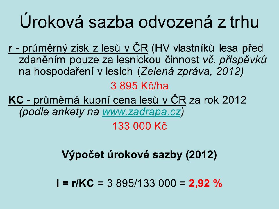 Úroková sazba odvozená z trhu r - průměrný zisk z lesů v ČR (HV vlastníků lesa před zdaněním pouze za lesnickou činnost vč. příspěvků na hospodaření v