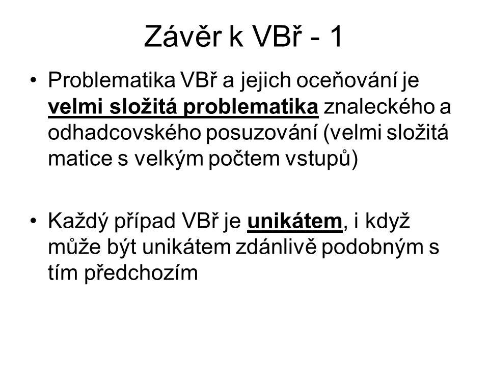 Závěr k VBř - 1 Problematika VBř a jejich oceňování je velmi složitá problematika znaleckého a odhadcovského posuzování (velmi složitá matice s velkým počtem vstupů) Každý případ VBř je unikátem, i když může být unikátem zdánlivě podobným s tím předchozím