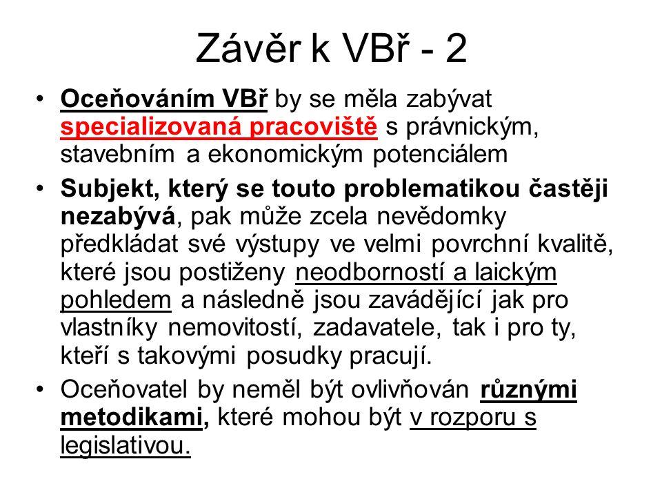 Závěr k VBř - 2 Oceňováním VBř by se měla zabývat specializovaná pracoviště s právnickým, stavebním a ekonomickým potenciálem Subjekt, který se touto