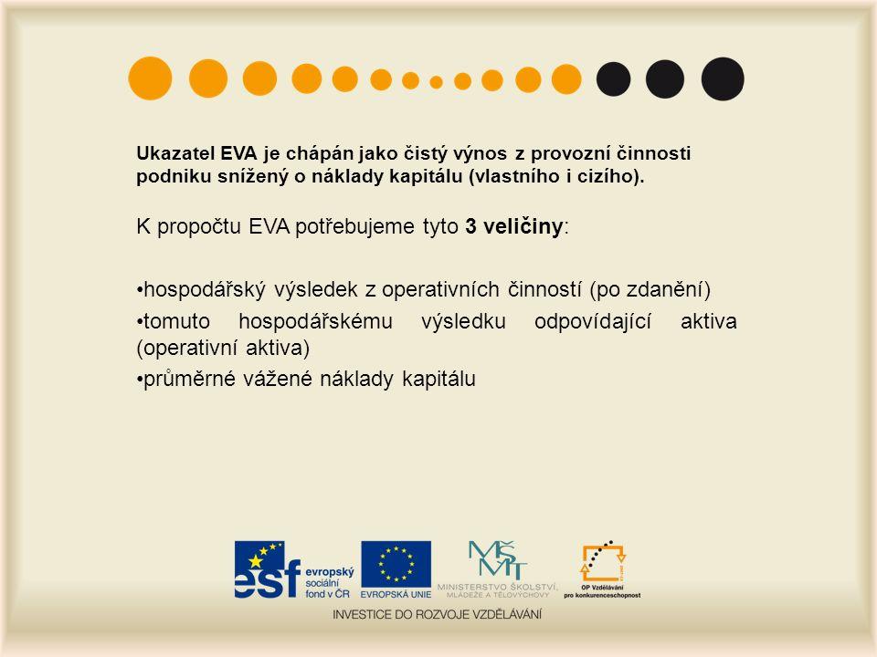 Ukazatel EVA je chápán jako čistý výnos z provozní činnosti podniku snížený o náklady kapitálu (vlastního i cizího).