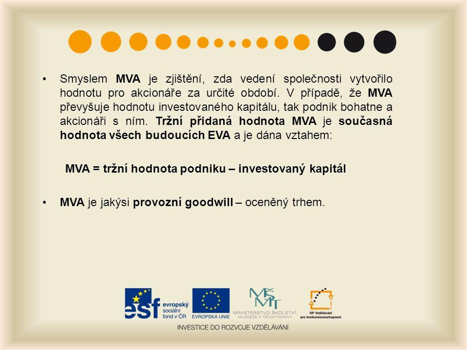 Smyslem MVA je zjištění, zda vedení společnosti vytvořilo hodnotu pro akcionáře za určité období.