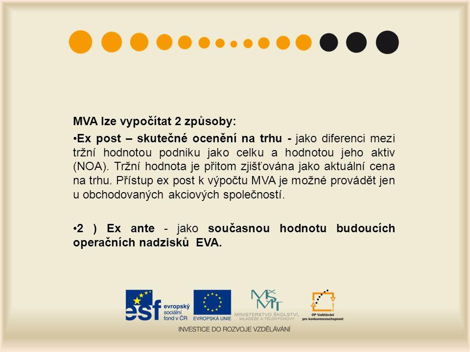 MVA lze vypočítat 2 způsoby: Ex post – skutečné ocenění na trhu - jako diferenci mezi tržní hodnotou podniku jako celku a hodnotou jeho aktiv (NOA).