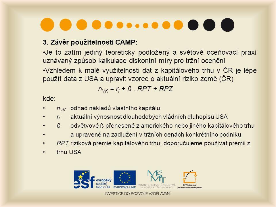 3. Závěr použitelnosti CAMP: Je to zatím jediný teoreticky podložený a světově oceňovací praxí uznávaný způsob kalkulace diskontní míry pro tržní ocen