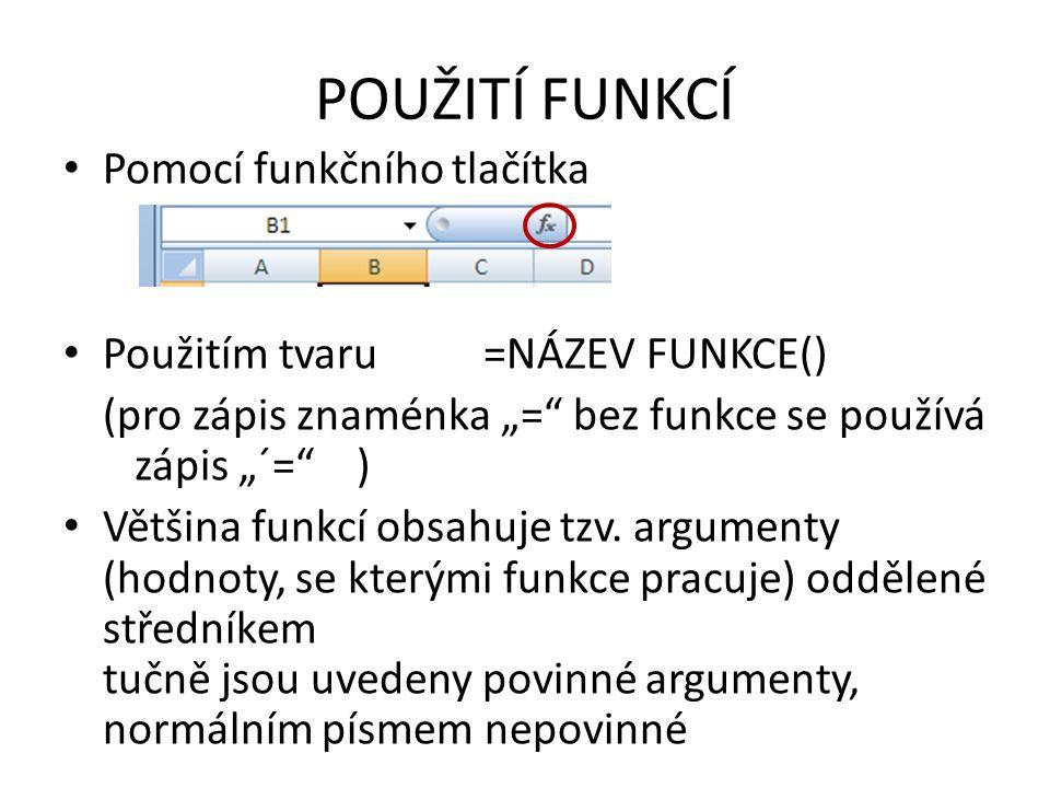 """POUŽITÍ FUNKCÍ Pomocí funkčního tlačítka Použitím tvaru =NÁZEV FUNKCE() (pro zápis znaménka """"= bez funkce se používá zápis """"´= ) Většina funkcí obsahuje tzv."""