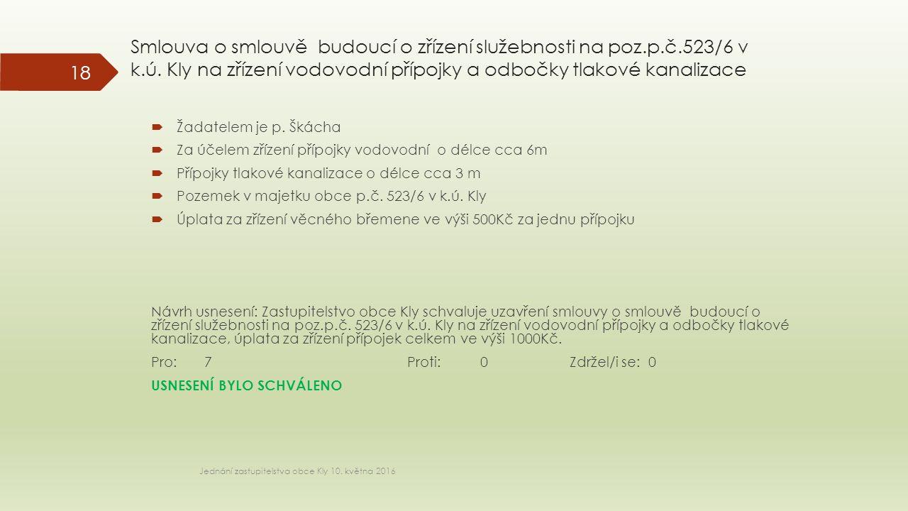 Smlouva o smlouvě budoucí o zřízení služebnosti na poz.p.č.523/6 v k.ú.