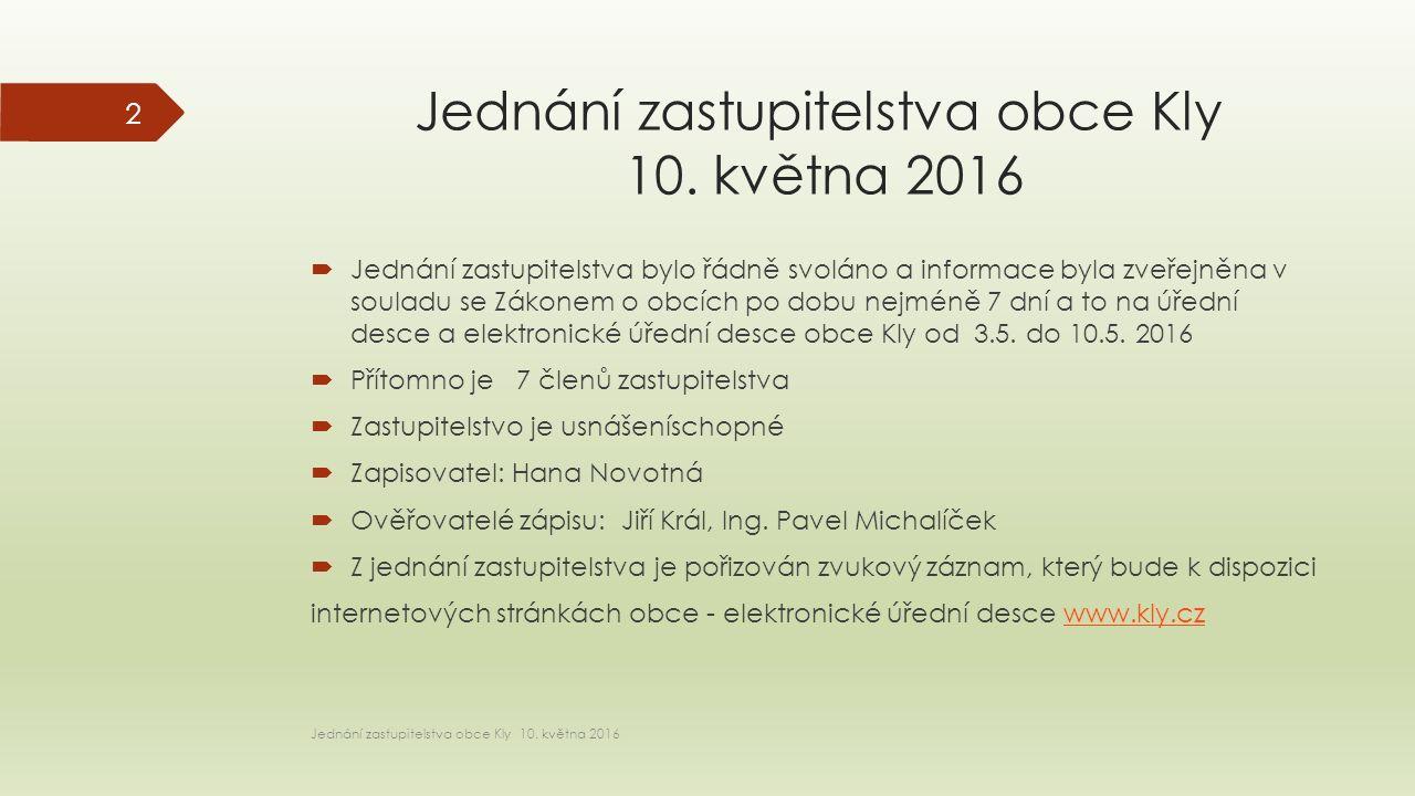 Jednání zastupitelstva obce Kly 10.