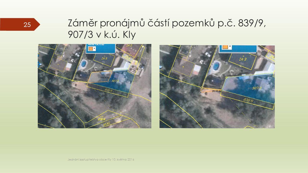 Záměr pronájmů částí pozemků p.č. 839/9, 907/3 v k.ú.