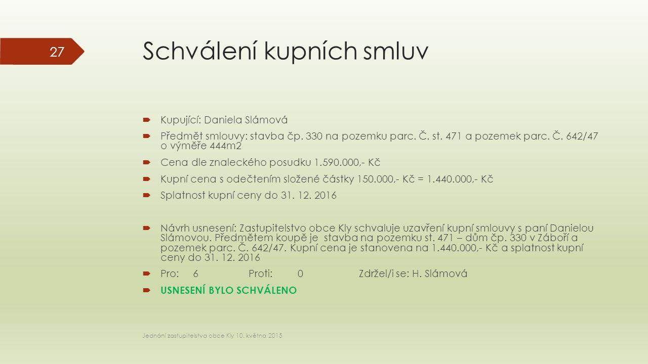 Schválení kupních smluv  Kupující: Daniela Slámová  Předmět smlouvy: stavba čp.