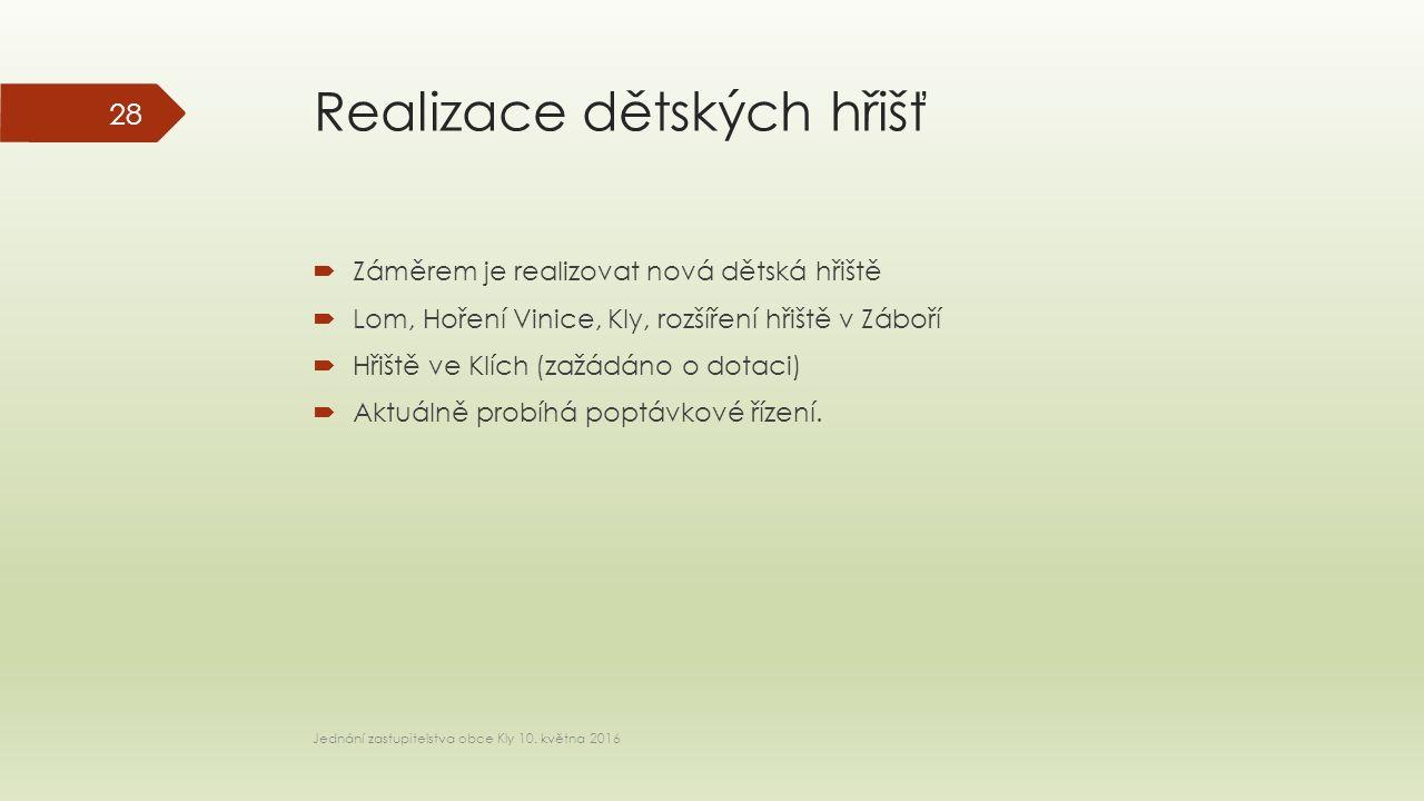 Realizace dětských hřišť  Záměrem je realizovat nová dětská hřiště  Lom, Hoření Vinice, Kly, rozšíření hřiště v Záboří  Hřiště ve Klích (zažádáno o dotaci)  Aktuálně probíhá poptávkové řízení.