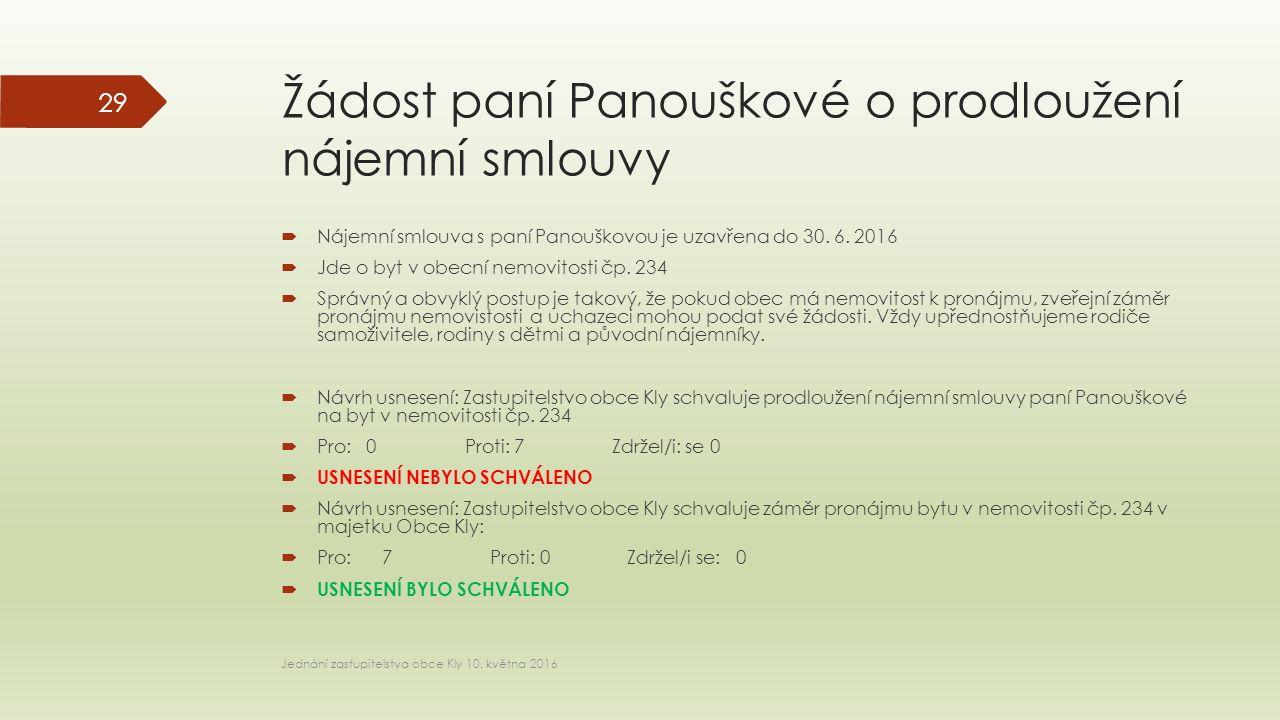 Žádost paní Panouškové o prodloužení nájemní smlouvy  Nájemní smlouva s paní Panouškovou je uzavřena do 30.
