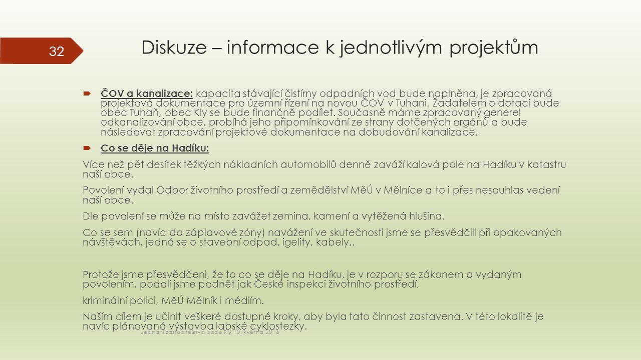 Diskuze – informace k jednotlivým projektům  ČOV a kanalizace: kapacita stávající čistírny odpadních vod bude naplněna, je zpracovaná projektová dokumentace pro územní řízení na novou ČOV v Tuhani.