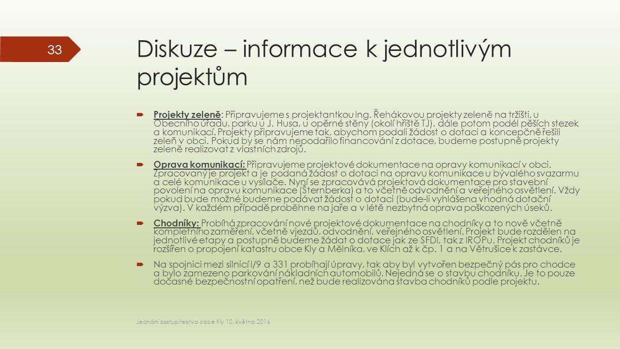 Diskuze – informace k jednotlivým projektům  Projekty zeleně : Připravujeme s projektantkou Ing.