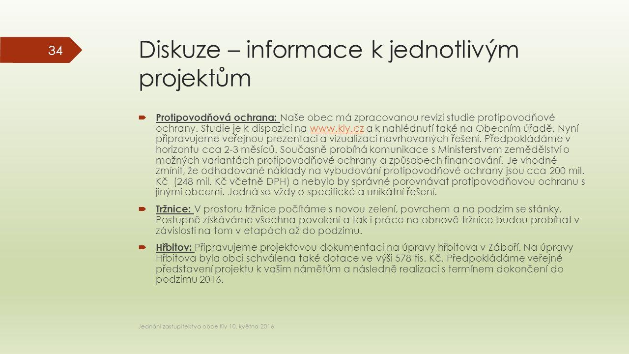 Diskuze – informace k jednotlivým projektům  Protipovodňová ochrana: Naše obec má zpracovanou revizi studie protipovodňové ochrany.