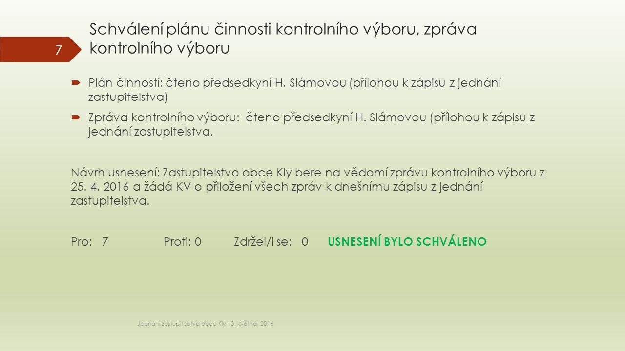 Schválení plánu činnosti kontrolního výboru, zpráva kontrolního výboru Jednání zastupitelstva obce Kly 10.