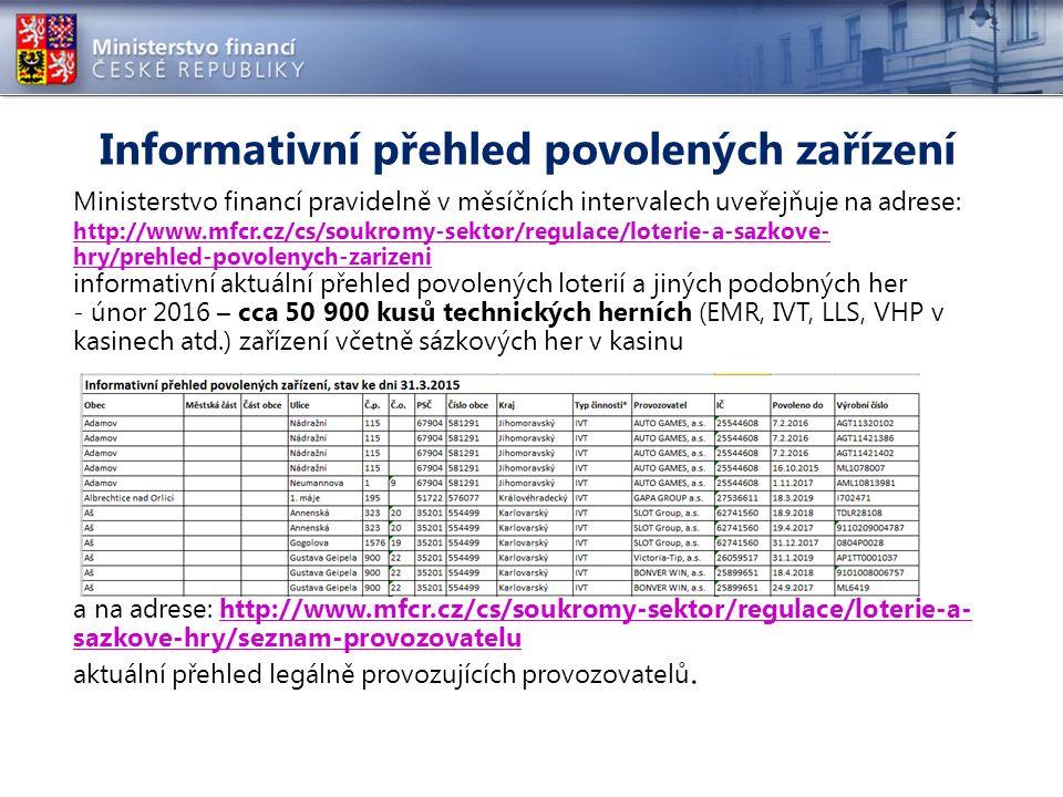 Informativní přehled povolených zařízení Ministerstvo financí pravidelně v měsíčních intervalech uveřejňuje na adrese: http://www.mfcr.cz/cs/soukromy-