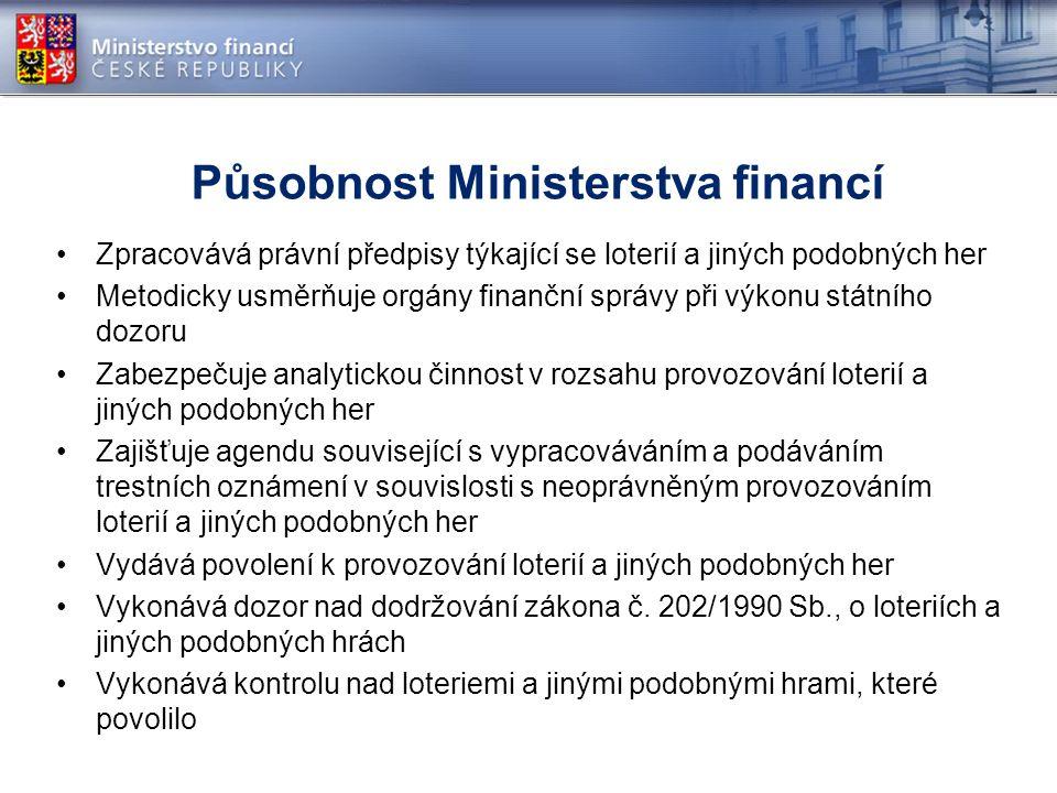 Působnost Ministerstva financí Zpracovává právní předpisy týkající se loterií a jiných podobných her Metodicky usměrňuje orgány finanční správy při vý