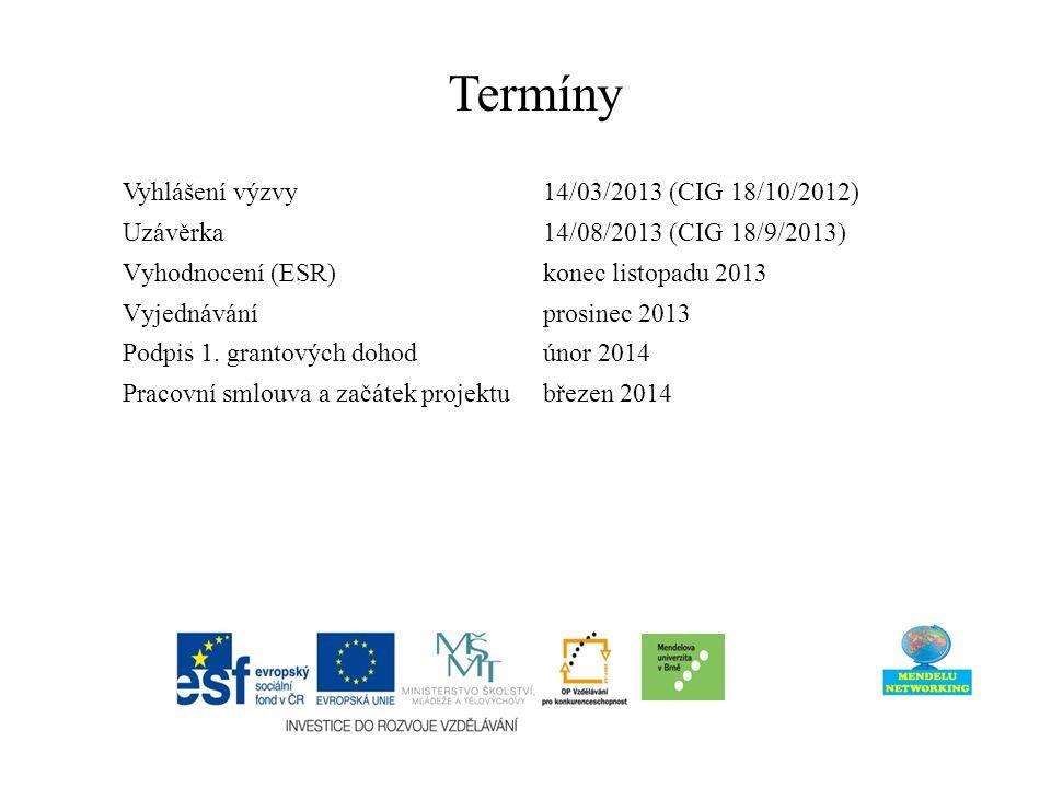 Termíny Vyhlášení výzvy 14/03/2013 (CIG 18/10/2012) Uzávěrka 14/08/2013 (CIG 18/9/2013) Vyhodnocení (ESR) konec listopadu 2013 Vyjednáváníprosinec 2013 Podpis 1.