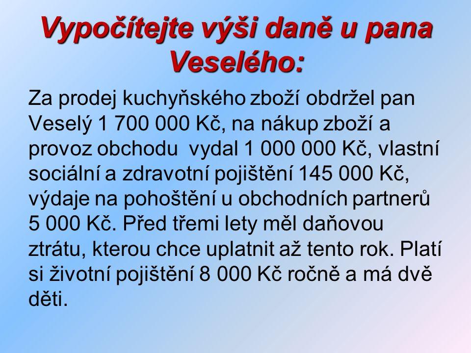Vypočítejte výši daně u pana Veselého: Za prodej kuchyňského zboží obdržel pan Veselý 1 700 000 Kč, na nákup zboží a provoz obchodu vydal 1 000 000 Kč, vlastní sociální a zdravotní pojištění 145 000 Kč, výdaje na pohoštění u obchodních partnerů 5 000 Kč.