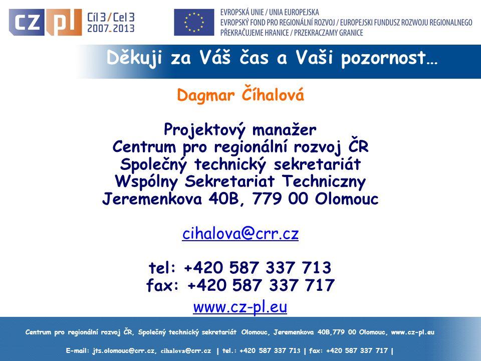 Centrum pro regionální rozvoj ČR, Společný technický sekretariát Olomouc, Jeremenkova 40B,779 00 Olomouc, www.cz-pl.eu E-mail: jts.olomouc@crr.cz, cihalova @crr.cz | tel.: +420 587 337 71 3 | fax: +420 587 337 717 | Děkuji za Váš čas a Vaši pozornost… Dagmar Číhalová Projektový manažer Centrum pro regionální rozvoj ČR Společný technický sekretariát Wspólny Sekretariat Techniczny Jeremenkova 40B, 779 00 Olomouc cihalova@crr.cz tel: +420 587 337 713 fax: +420 587 337 717 www.cz-pl.eu