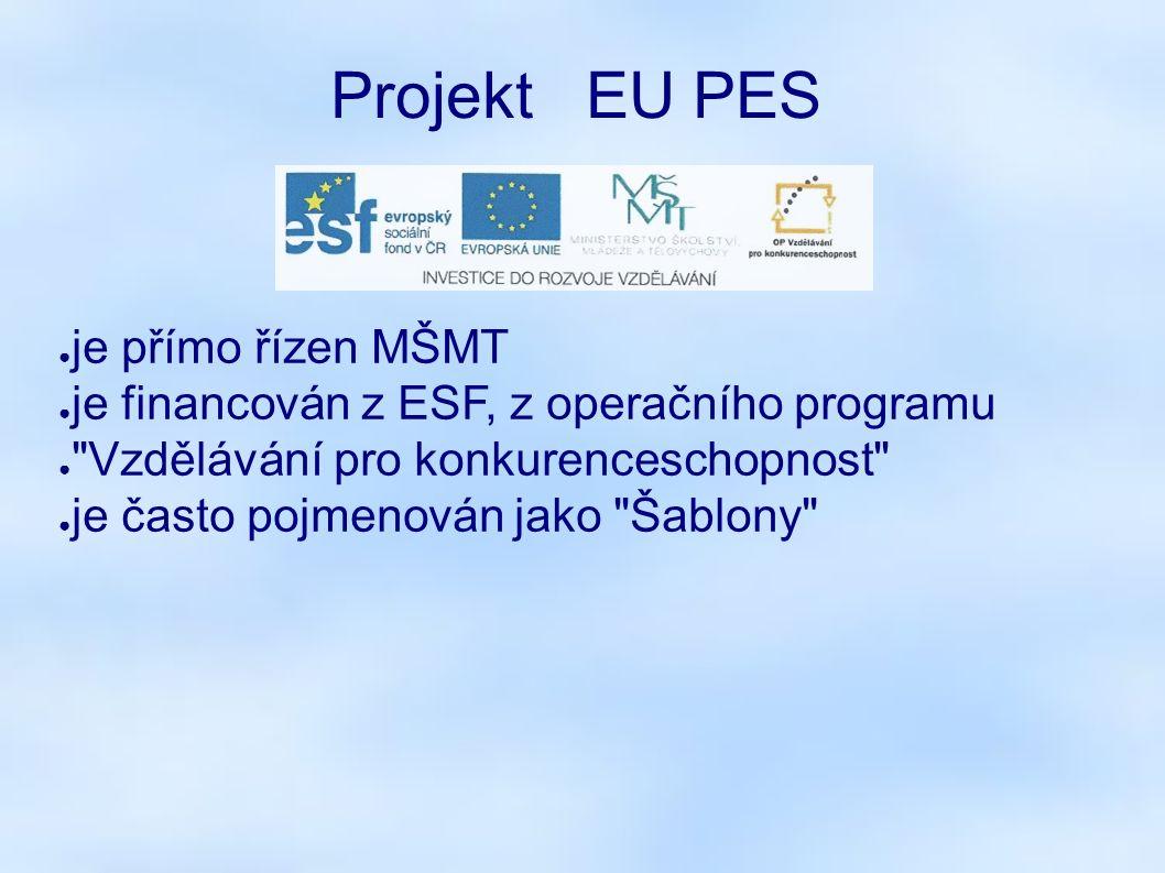 Projekt EU PES ● je přímo řízen MŠMT ● je financován z ESF, z operačního programu ●