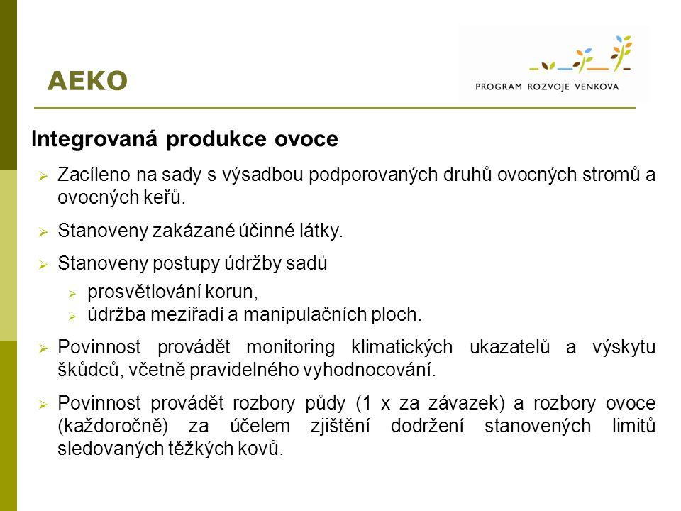 AEKO Integrovaná produkce ovoce  Zacíleno na sady s výsadbou podporovaných druhů ovocných stromů a ovocných keřů.  Stanoveny zakázané účinné látky.
