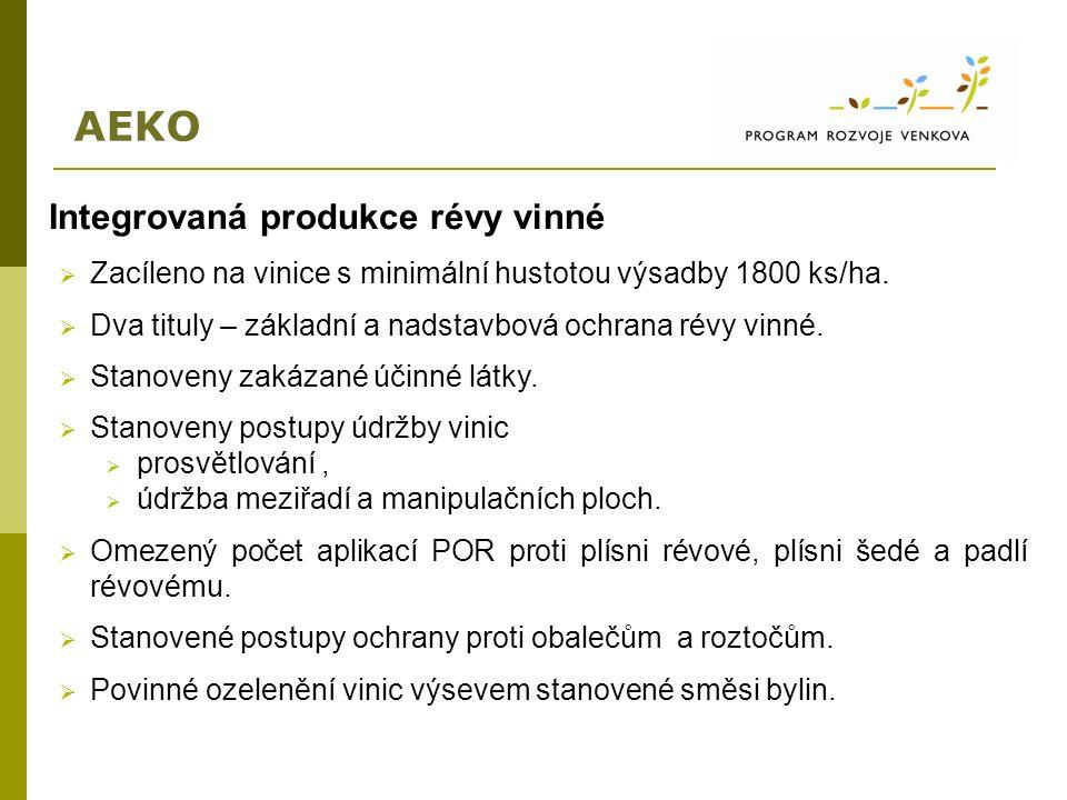 AEKO Integrovaná produkce révy vinné  Zacíleno na vinice s minimální hustotou výsadby 1800 ks/ha.  Dva tituly – základní a nadstavbová ochrana révy