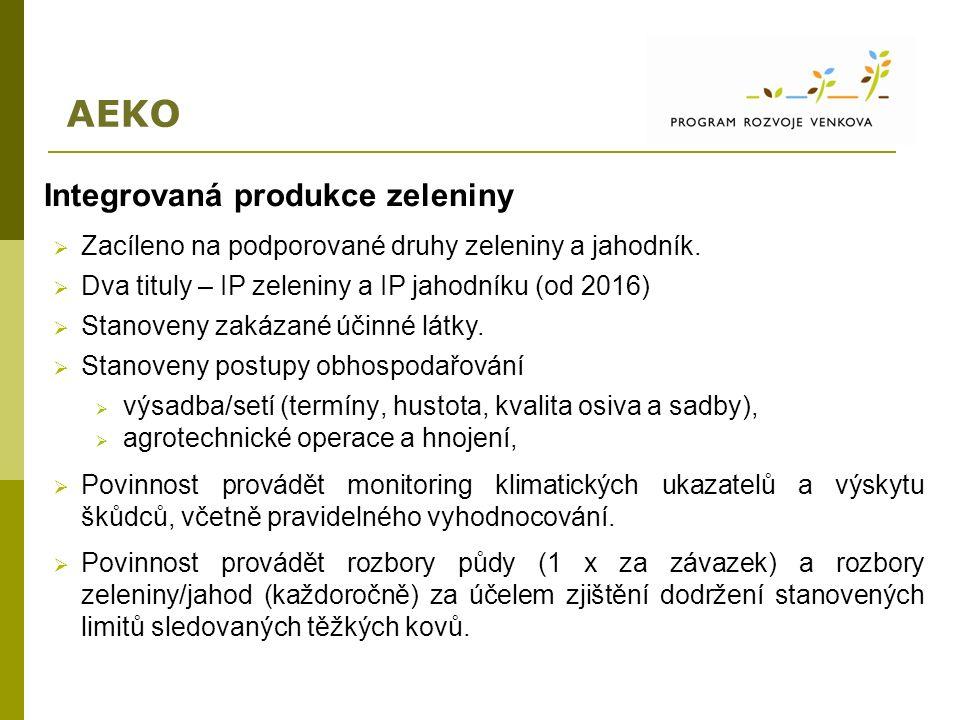 AEKO Integrovaná produkce zeleniny  Zacíleno na podporované druhy zeleniny a jahodník.  Dva tituly – IP zeleniny a IP jahodníku (od 2016)  Stanoven