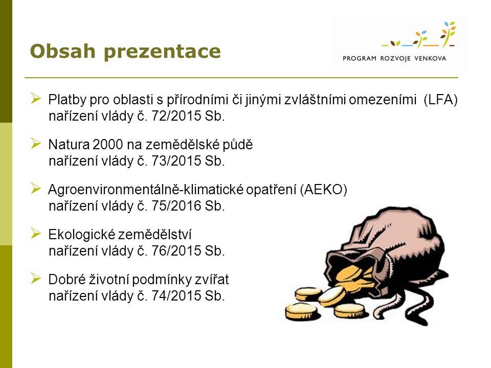 Obsah prezentace  Platby pro oblasti s přírodními či jinými zvláštními omezeními (LFA) nařízení vlády č. 72/2015 Sb.  Natura 2000 na zemědělské půdě