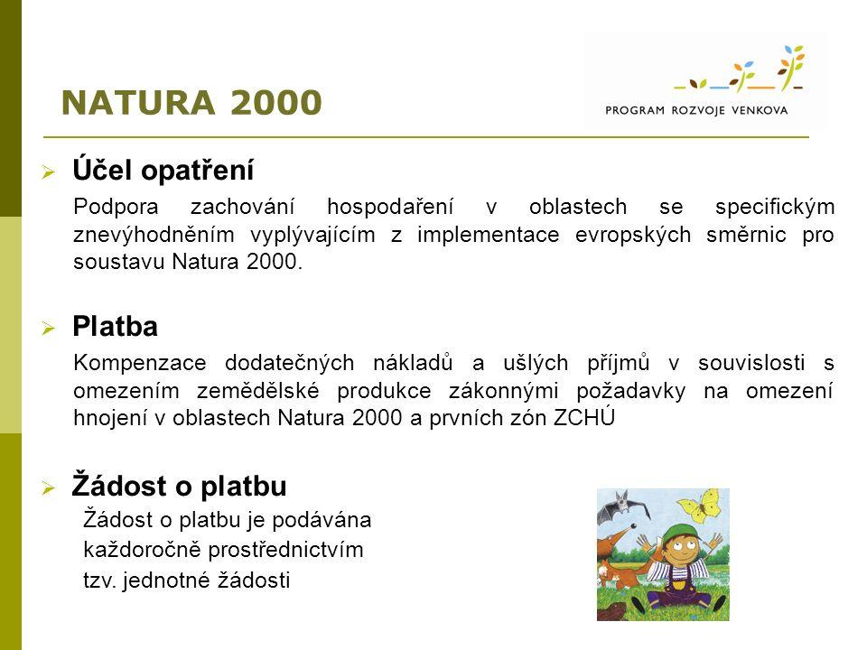 NATURA 2000  Účel opatření Podpora zachování hospodaření v oblastech se specifickým znevýhodněním vyplývajícím z implementace evropských směrnic pro