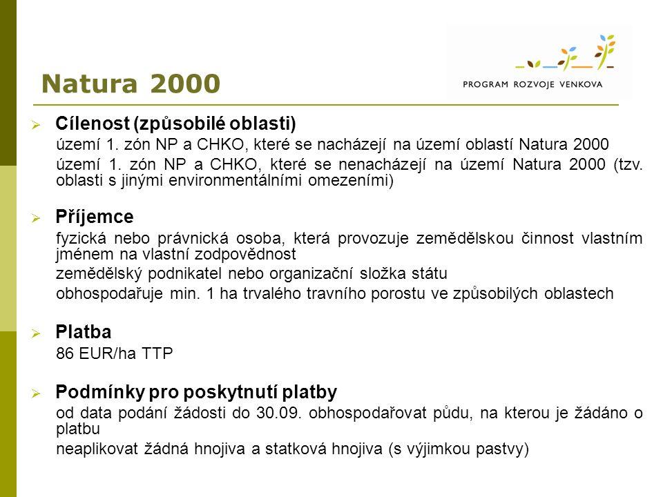 Natura 2000  Cílenost (způsobilé oblasti) území 1. zón NP a CHKO, které se nacházejí na území oblastí Natura 2000 území 1. zón NP a CHKO, které se ne