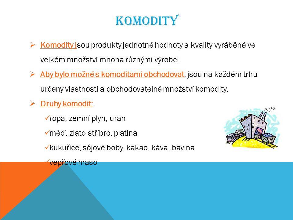 KOMODITY  Komodity jsou produkty jednotné hodnoty a kvality vyráběné ve velkém množství mnoha různými výrobci.