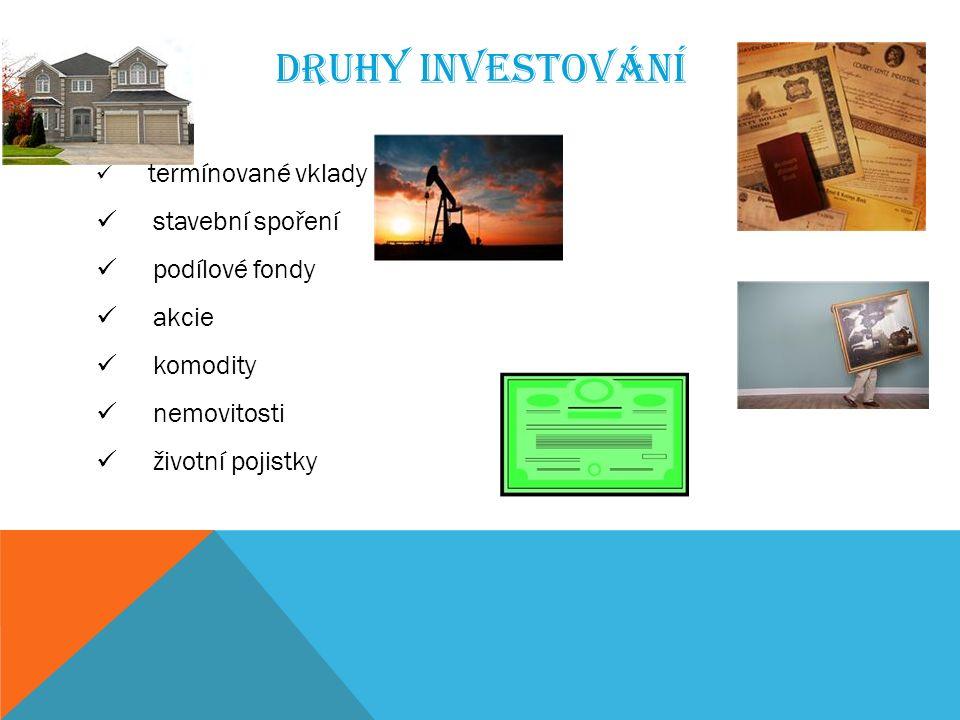 DRUHY INVESTOVÁNÍ termínované vklady stavební spoření podílové fondy akcie komodity nemovitosti životní pojistky